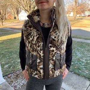 David Green Lippi Leopard Cat Fur Vest Zip Sz M/L